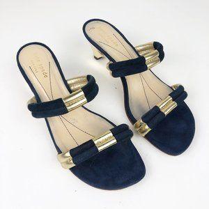 KATE SPADE Blue Suede Gold Kitten Heel Sandal Mule
